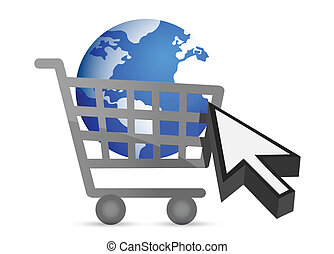 shopping cart globe and cursor