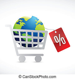 shopping cart, globe and tag illustration design