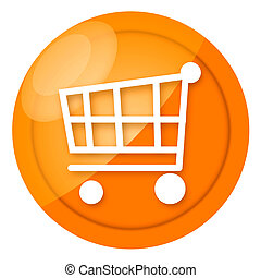 Shopping cart golden glossy sign isolated over white background