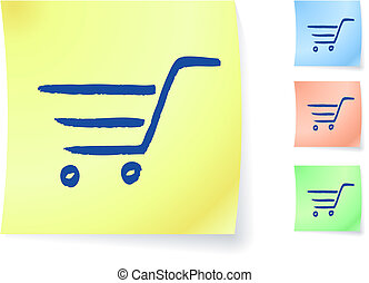shopping cart graphic on sticky note