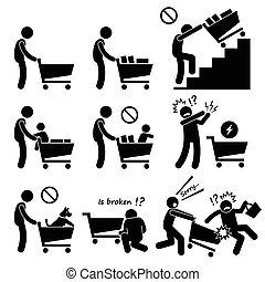 Shopping Cart Guide - Human pictogram stick figures showing...