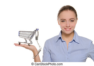 Shopping cart handcuffed to the women arm