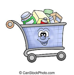 Shopping cart happy. - Happy shopping cart - color...