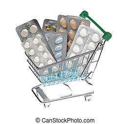 shopping cart, hos, forskellige, pillerne, blist pakk