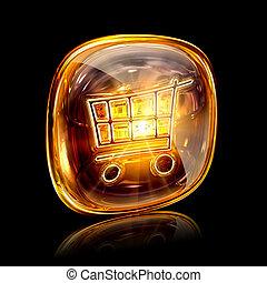 shopping cart icon amber, isolated on black background