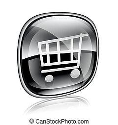 shopping cart icon black glass, isolated on white background.