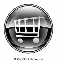 shopping cart icon black, isolated on white background.