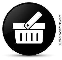 Shopping cart icon black round button