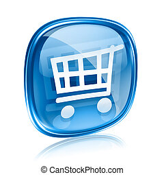 shopping cart icon blue glass, isolated on white background.