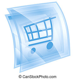 shopping cart icon blue, isolated on white background.