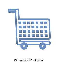 shopping cart icon, blue outline style
