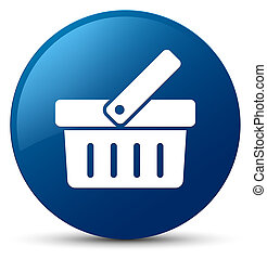 Shopping cart icon blue round button
