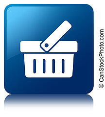 Shopping cart icon blue square button