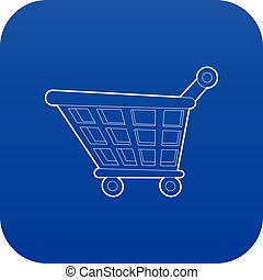 Shopping cart icon blue vector