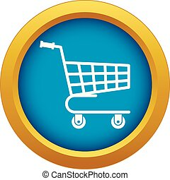 Shopping cart icon blue vector isolated