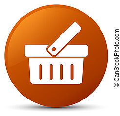 Shopping cart icon brown round button