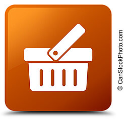 Shopping cart icon brown square button
