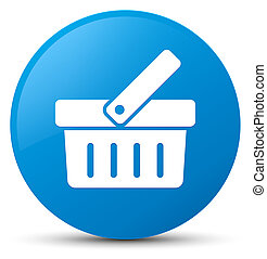 Shopping cart icon cyan blue round button