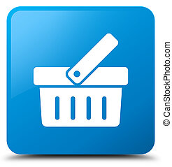 Shopping cart icon cyan blue square button