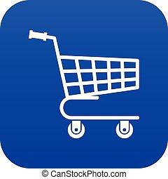 Shopping cart icon digital blue