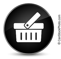 Shopping cart icon elegant black round button
