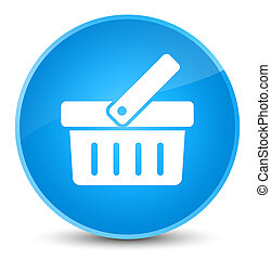 Shopping cart icon elegant cyan blue round button