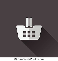 Shopping cart icon. Flat design in black and white