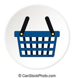 Shopping cart icon, flat style