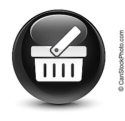 Shopping cart icon glassy black round button