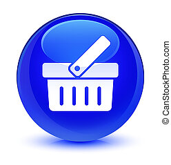 Shopping cart icon glassy blue round button