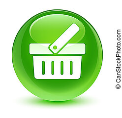 Shopping cart icon glassy green round button