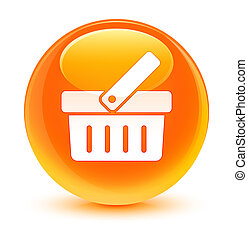 Shopping cart icon glassy orange round button