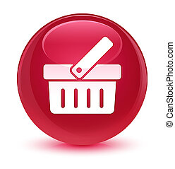 Shopping cart icon glassy pink round button