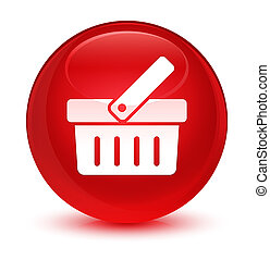 Shopping cart icon glassy red round button