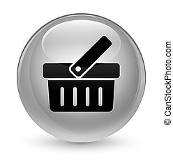 Shopping cart icon glassy white round button