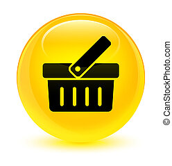 Shopping cart icon glassy yellow round button