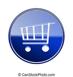 shopping cart icon glossy blue, isolated on white background