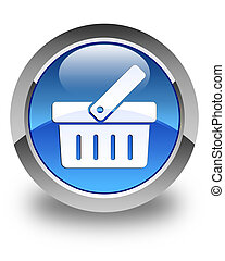 Shopping cart icon glossy blue round button