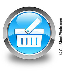 Shopping cart icon glossy cyan blue round button