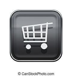 shopping cart icon glossy grey, isolated on white background