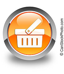 Shopping cart icon glossy orange round button