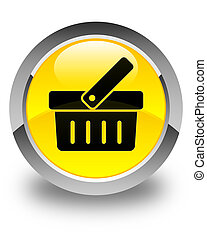 Shopping cart icon glossy yellow round button