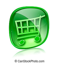 shopping cart icon green glass, isolated on white background.