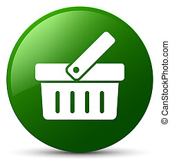 Shopping cart icon green round button