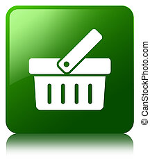 Shopping cart icon green square button