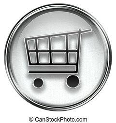 shopping cart icon grey, isolated on white background.