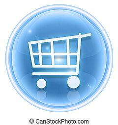 shopping cart icon ice, isolated on white background.