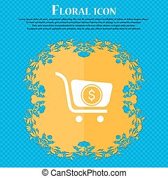 shopping cart icon icon. Floral flat design on a blue abstract background with place for your text. Vector