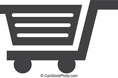 Shopping cart icon in black on a white background. Vector illustration