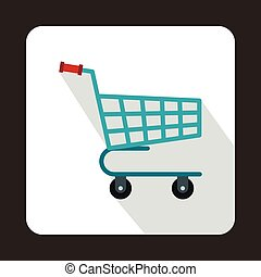 Shopping cart icon in flat style
